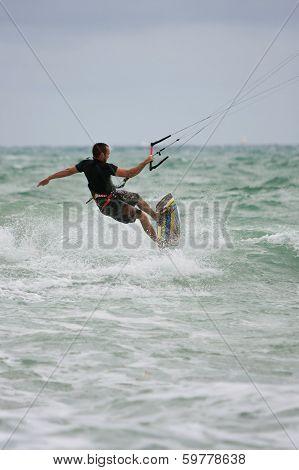 Man Rides Waves Parasail Surfing Off Florida Coast