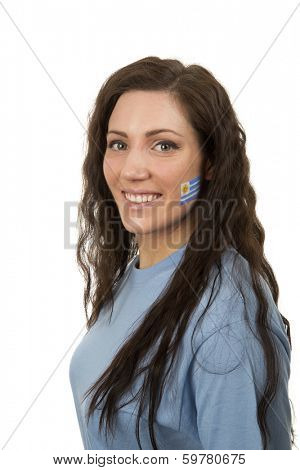 Young Girl with the Uruguayan flag painted in her face