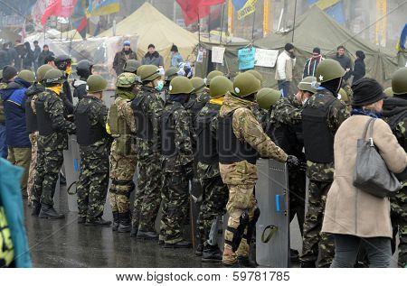KIEV, UKRAINE - FEB 10, 2014: Downtown of Kiev.Kids-soldiers of Ukrainian opposition.. Riot in Kiev and Western Ukraine.February 10, 2014 Kiev, Ukraine