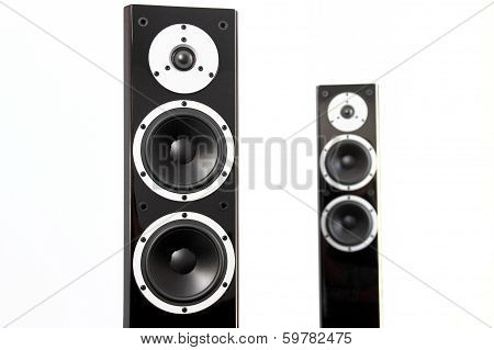 Pair Of Black High Gloss Music Speakers