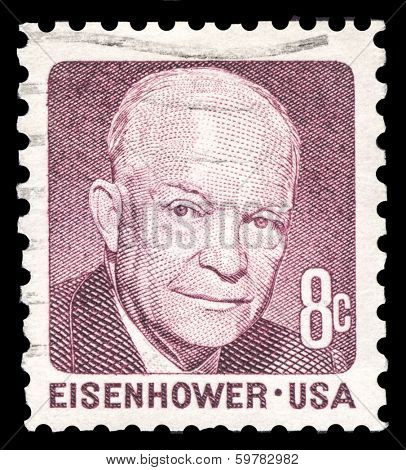 USA-CIRCA 1971: A postage stamp shows image portrait of Dwight Eisenhower the 34th President of the United States of America, circa 1971.