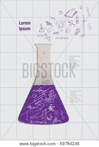 flask and formula on the paper