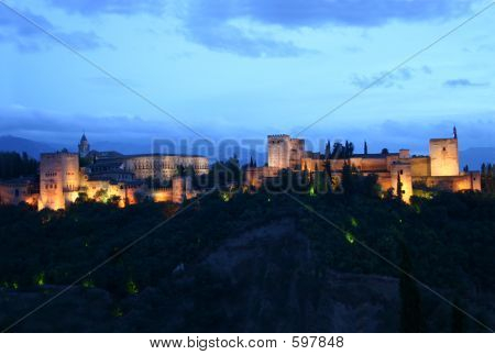 Alhambra Of Granada At Night , Spain