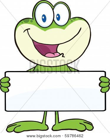 Cute Frog Cartoon Mascot Character Holding A Banner