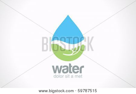 Water drop eco vector logo design template. Ecology creative concept. Mineral natural water icon
