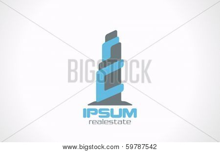 Skyscraper Techno Sci-fi style vector logo design template. Real Estate symbol. Commercial Business property icon
