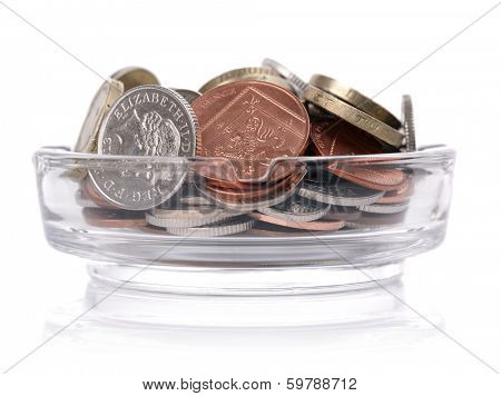 Ashtray filled with british currency concept for cost of smoking