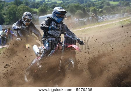 Dirt Bikes Battle the Corner