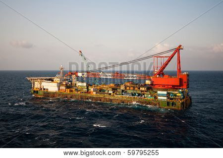 Gas platform or rig platform in sunset or sunrise time.