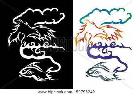 sea eagle caught fish - Vector Cartoon Illustration