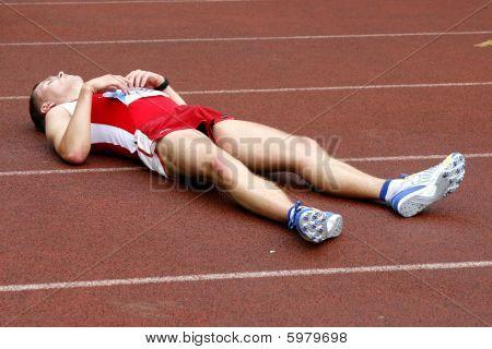 Tartu, Estonia - May 20: Tired Sportsman After A Race. 2006 Tartu, Estonia.