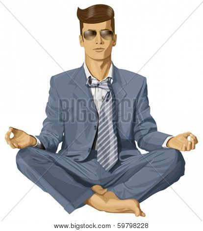 Relax concept. Vector hipster businessman in lotus pose meditating