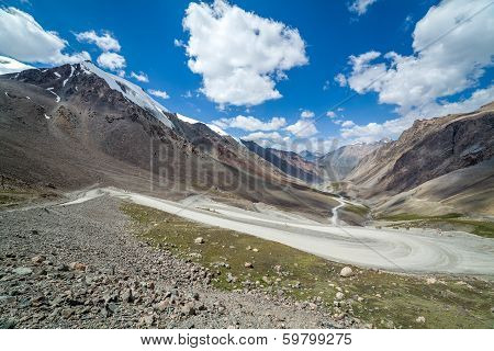 View on the winding road from Barskoon pass