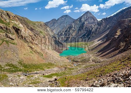 Amazing mountain lake in Kirghizia