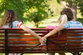 stock photo of breakup  - Rear view of a man with girlfriend while holding hands with another woman in the park - JPG