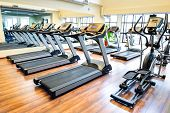 picture of treadmill  - Set of treadmills staying in line in the gym - JPG