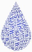 pic of save water  - Word cloud World Water Day or water saving related in shape of drop - JPG