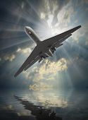 image of dangerous situation  - Jet passenger plane in dangerous situation over a sea - JPG