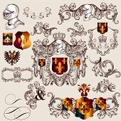 stock photo of winged-horse  - Vector set of luxury royal vintage elements for your heraldic design - JPG