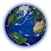 picture of planet earth  - Northern hemisphere on blue planet Earth isolated on white background - JPG