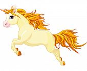 stock photo of unicorn  - Illustration of running beautiful unicorn - JPG