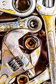 stock photo of grease  - Set of rusty mechanic tools  - JPG