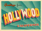 Vintage Touristic Greeting Card - Hollywood, California - Vector EPS10. Grunge effects can be easily