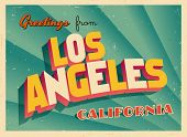 Vintage Touristic Greeting Card - Los Angeles, California - Vector EPS10. Grunge effects can be easi