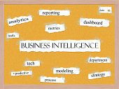 stock photo of pegboard  - Business Intelligence Corkboard Word Concept with great terms such as dashboard metrics data and more - JPG