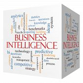 stock photo of benchmarking  - Business Intelligence 3D cube Word Cloud Concept with great terms such as predictive modeling analytics and more - JPG