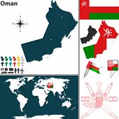 image of oman  - Vector map of Oman with regions coat of arms and location on world map - JPG