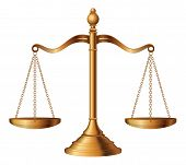 stock photo of justice  - Illustration of the scales of justice symbolizing the measure of a case - JPG