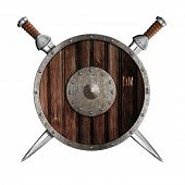 foto of berserk  - Two swords and wooden round shield isolated - JPG