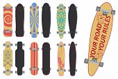 stock photo of skateboard  - Set of skateboards and longboards - JPG