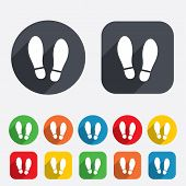 stock photo of flat-foot  - Imprint soles shoes sign icon - JPG