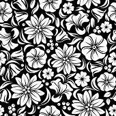 White seamless floral pattern on black. Vector illustration.