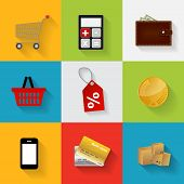 foto of dd  - Shopping Flat Icons Set Vector Illustration - JPG
