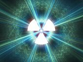 image of nuke  - Nuclear radiation symbol on a blue background - JPG