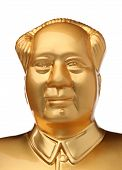 picture of zedong  - Golden statue of Chairman mao zedong on white background - JPG