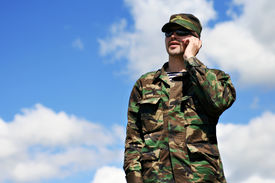image of army soldier  - Soldier with Mobile Phone - JPG