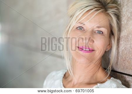 Attractive Middle-aged Woman With Blond Hair