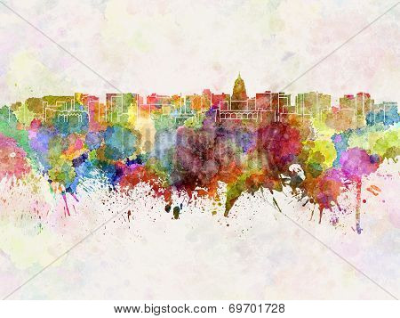 Madison Skyline In Watercolor Background