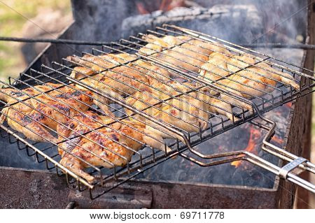 Preparation Of Quail On The Grill