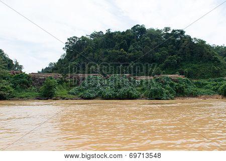 Timber Logging Site Along Sarawak Rejang River