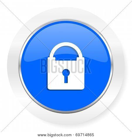 padlock blue glossy web icon