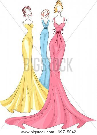 Illustration Featuring Mannequins Wearing Colorful Gowns