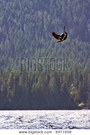 Kiteboarder getting some big air