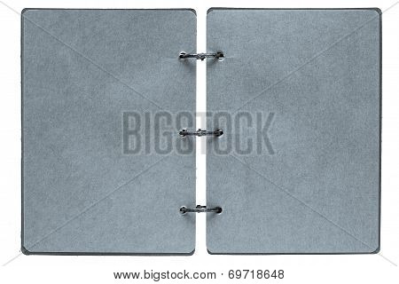 Open Notebook With Pages Of Silvery Color