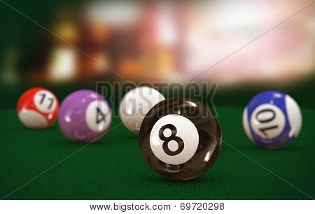 3D Eight Black Billiard Pool Ball