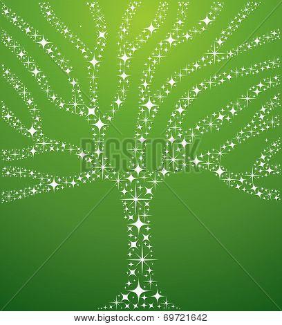 Abstract Stars Tree Illustration
